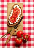 A slice of bread topped with cream cheese, tomatoes and chives