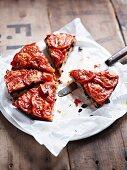 Tomato tart, sliced