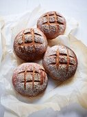 Four loaves made from a mixture of rye and wheat