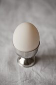 A white duck egg in a silver egg cup