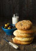Unleavened bread with olives and Ayran (Turkish yogurt drink)