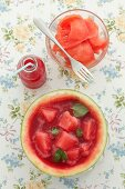 Watermelon sorbet and a watermelon drink