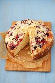Yeast cake with cherries and slivered almonds
