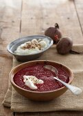 Beetroot soup with ginger, red cabbage and coriander