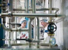 Workers inspecting goat yogurt in dairy