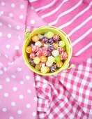 Close up of candies in bucket