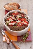 Minced meat with tomatoes and sheep's cheese