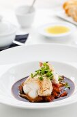 Lobster on red wine juice and cress