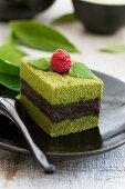 Green tea cake filled with azuki beans