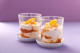 Cottage cheese with an orange and sea buckthorn sauce