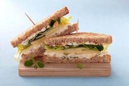 Egg, cheese and cress sandwich on wholemeal toast