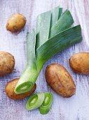 Potatoes and leek