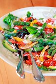 Mixed salad with avocado and green asparagus