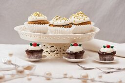 Two types of Christmas cupcakes