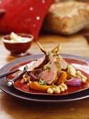 Saddle of lamb with pumpkin and chickpeas