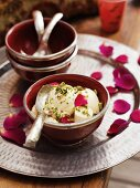 Banana ice cream with pistachios and rosewater