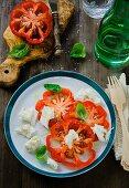 Insalata caprese (Buffalo Heart tomatoes with mozzarella, Italy)