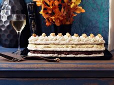 Hazelnut dacquoise and a glass of wine