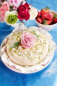 Cheesecake with white chocolate chips, limes and roses