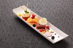 A selection of desserts with cakes and berries