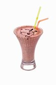 Berry shake with two straws
