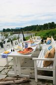 A table laid for a lobster party in Sweden