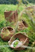 Various storage baskets in meadow