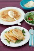 Pancakes filled with quark, onions and potatoes