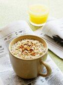 Porridge and a glass of orange juice