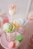 Three Assorted Flower Cake Pops in a Jar; Macaroons