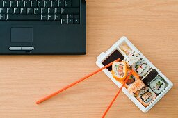 Sushi and laptop