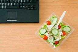 Salad at desk