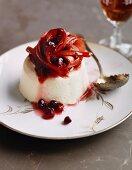 Yoghurt dessert with rhubarb compote