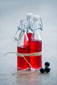 Three bottles of blackcurrant syrup