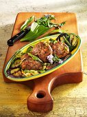Lamb and ramson burgers with grilled vegetables