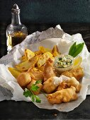 Fish and chops with ramson remoulade