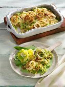 Ramson and cheese spätzle (soft egg noodles from Swabia) with onions