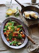 Warm barley salad with vegetables