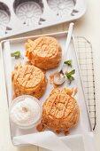 Pineapple cakes made using mini pineapple-shaped baking tins