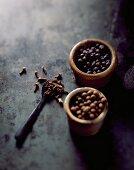 Cloves, allspice and juniper berries