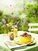 Crunchy muesli on a summer table