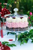 A luxury strawberry cake under a glass cloche
