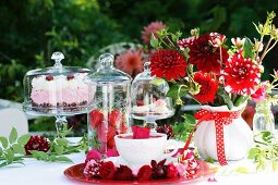 A celebratory buffet decorated in red and white
