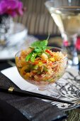 Asian salad with crab meat, peppers and chilli
