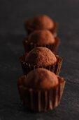 A row of chocolate truffle pralines