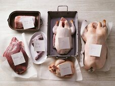 Various types of poultry and game with labels