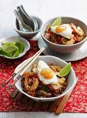Nasi Goreng with chicken, prawns and fried egg