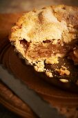 Apple Pie in Pan with Slice Removed