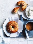 Sweet and salty bagels with ricotta and caramel cream