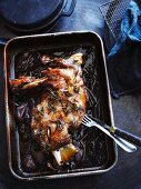 Roast shoulder of lamb with rosemary